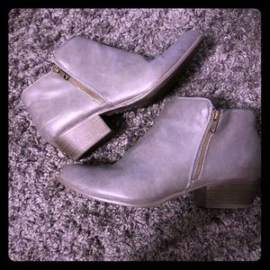 Gray Faux Leather Bootie
